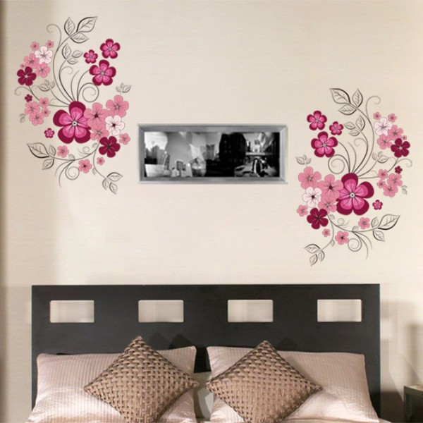 Purple Flowers (JM7151) -60x90- Wall Sticker/Stiker Dinding