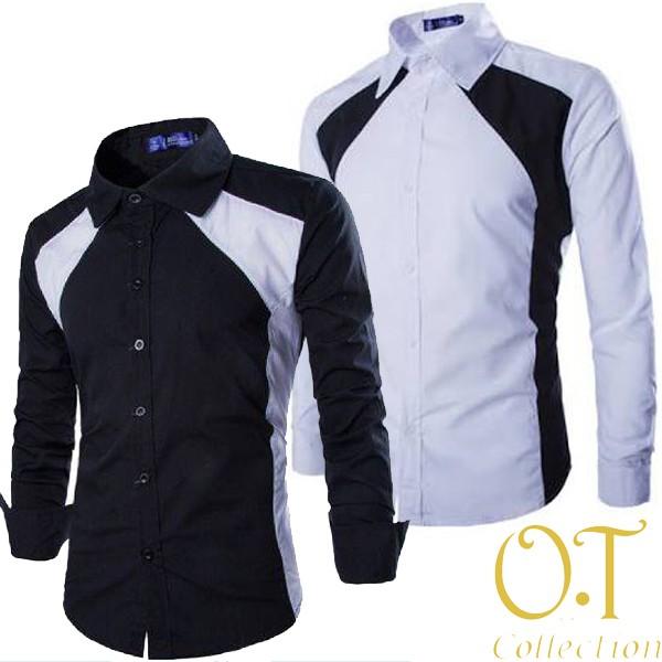 ... harga [hem clark ot] pakaian pria kemeja slim fit warna hitam dan putih Tokopedia