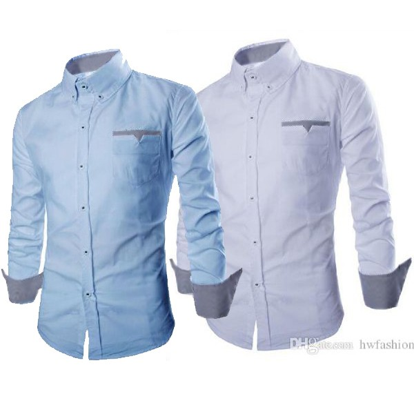 [hem boston OT] pakaian pria kemeja slim fit warna biru muda dan putih - Biru Muda