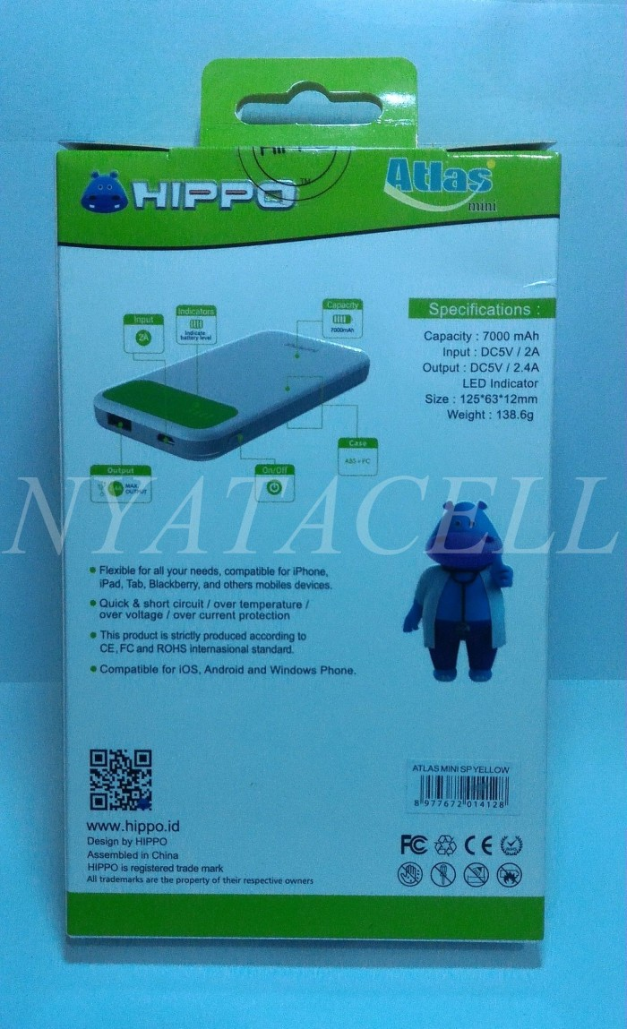 Jual Powerbank Hippo Atlas Mini 7000mah Simple Pack Polymer Cell 12000mah Power Bank