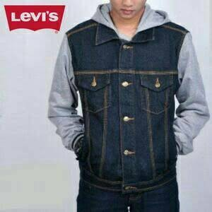 Foto Produk Jaket Levis Combi Fleece (Blue Black-Abu) dari Grosir Aneka Sandang