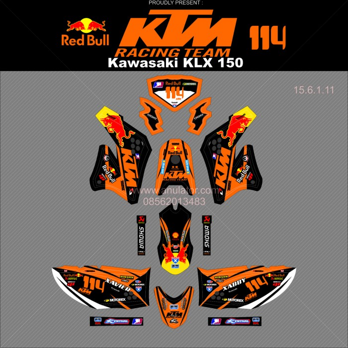... harga Sticker striping motor stiker kawasaki klx 150 orange 114 spec b Tokopedia.com