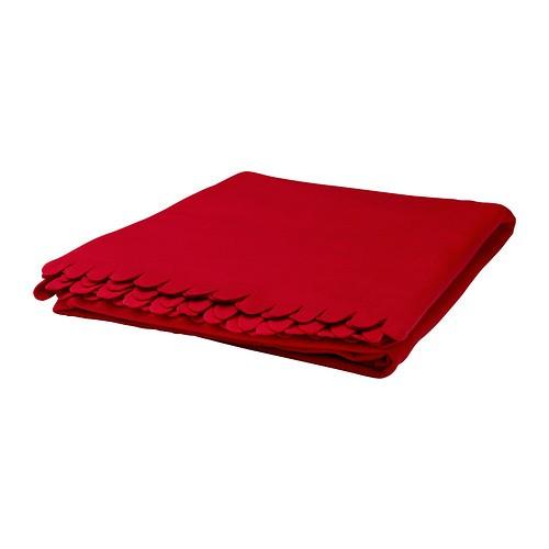 Ikea polarvide selimut fleece lembut, merah