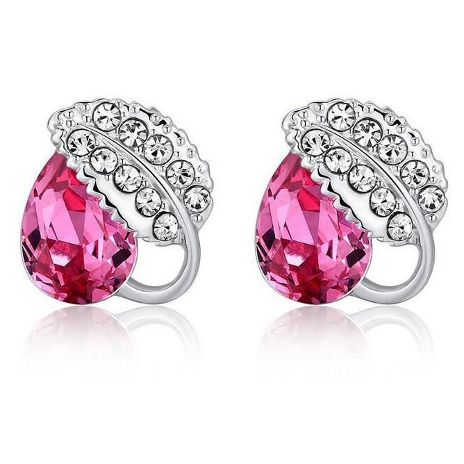 Anting Wanita Acacia Leaves Crystal Earrings 925 Sterling Silver -rose