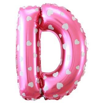 "Balon Foil SNI 19"" huruf D warna Pink motif Love"