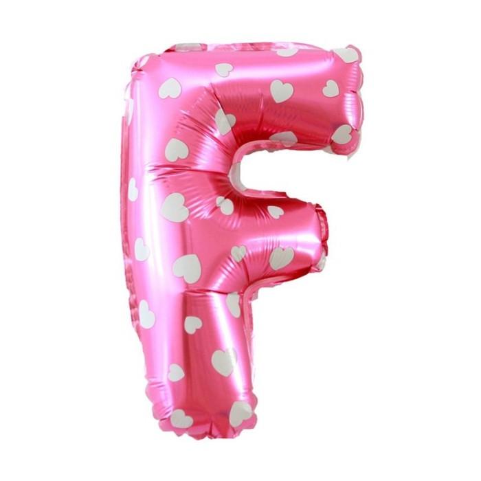"""Balon Foil SNI 19"""" huruf F warna Pink motif Love"""