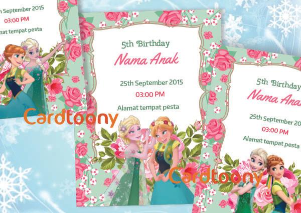 Jual Kartu Undangan Ulang Tahun Birthday Frozen Fever Bunga Cantik