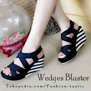 harga Wedges murah keren wedges blaster sm95 hitam sepatu wanita salur Tokopedia.com