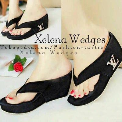 harga Wedges hitam polos xelena wedges sm113 sepatu murah bahan beludru kece Tokopedia.com
