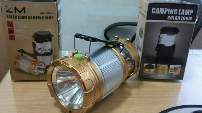 Lampu lentera emergency solar + senter + power bank