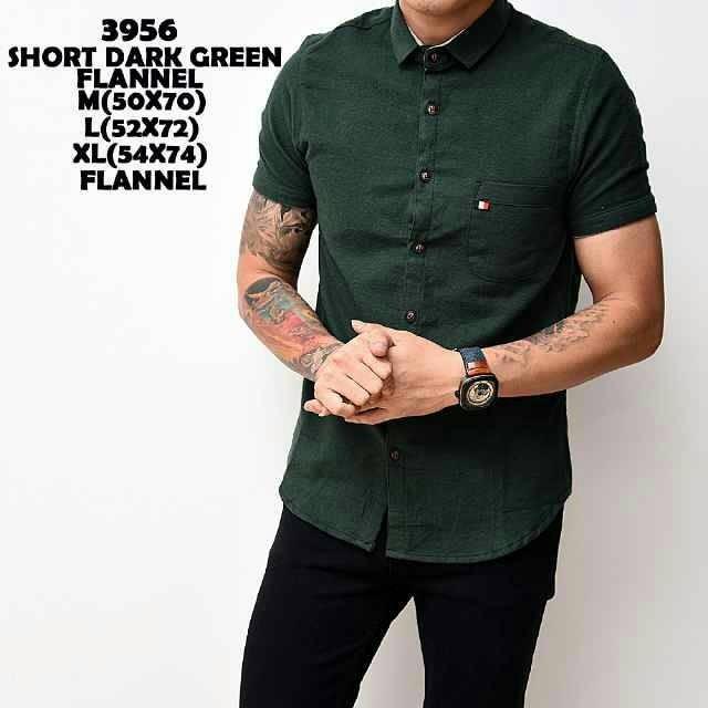 Jual Baju kemeja Lengan pendek slimfit flannel pria cowo hijau tua ... 7c30480420