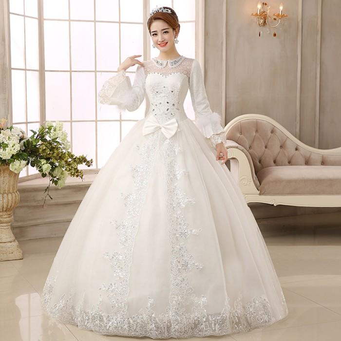 Jual Gaun Pengantin Import Wedding Dress Lengan Panjang Modern