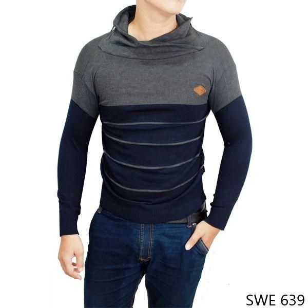 Sweater Pria Model Terbaru Rajut Kombinasi Warna SWE 639