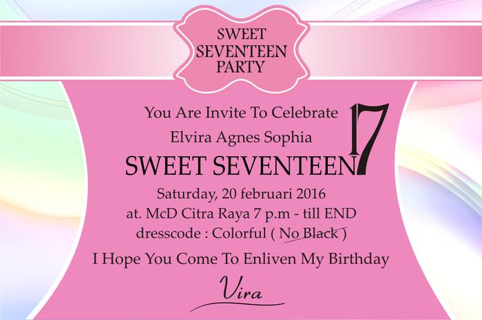 Undangan Ultah Sweet Seventeen
