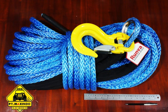 harga Runva synthetic rope 16mm x 40m kapasitas 25 ton  untuk di pto winch Tokopedia.com