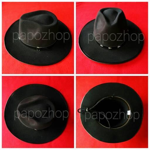 Topi fedora lebar tali hitam dewasa fedora hats floppy pantai ...