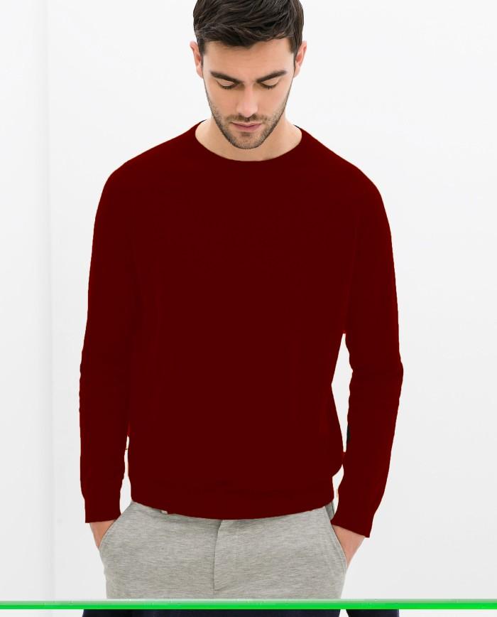 Sweater Basic Polos Merah Maroon