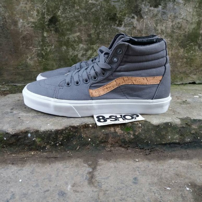 Jual Vans Sk8 hi cork twill grey   oldskool old skool authentic ... 238e526fb