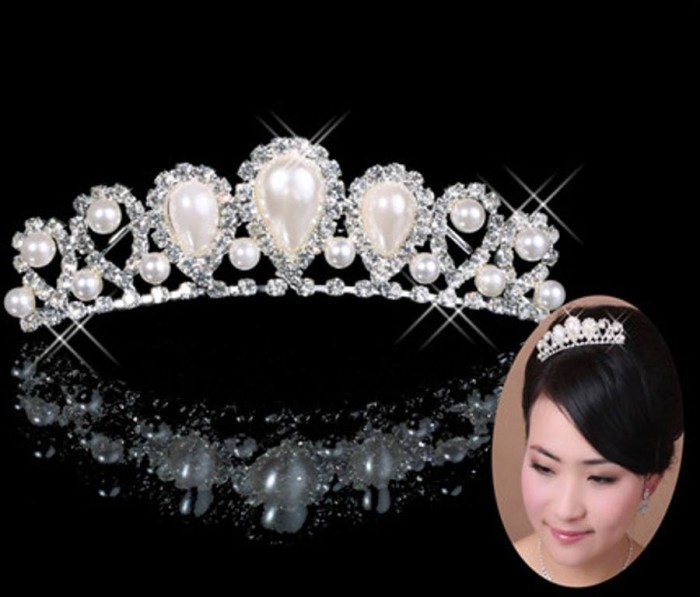 Jual Mahkota Crown Pearl Tiara Gaun Pengantin Pesta Wedding Dress