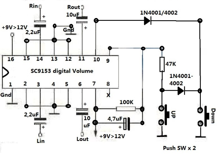 jual ic stereo digital volume control sc9153