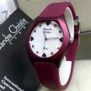 ... Jam Tangan Wanita Strap Rubber Merah; Page - 5. Alexandre Christie AC 2386 Dark Red for Ladies