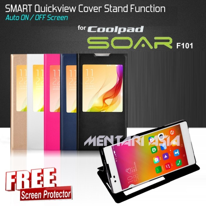 Smart quickview cover stand function coolpad soar f101 (+free sp)