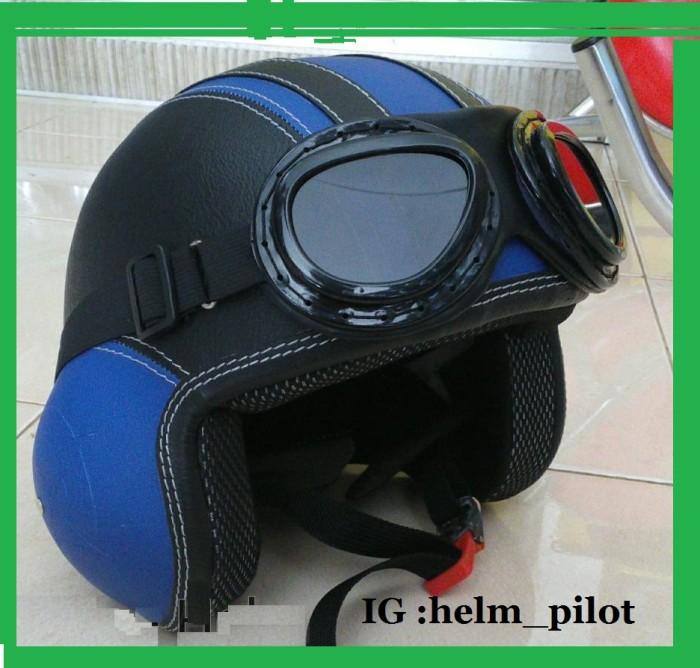 harga Helm pilot hitam biru kacamata Tokopedia.com