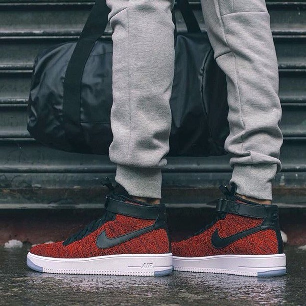 detailed pictures 8e24f 315f3 Nike Air Force 1 High Ultra Flyknit Gym Red Premium