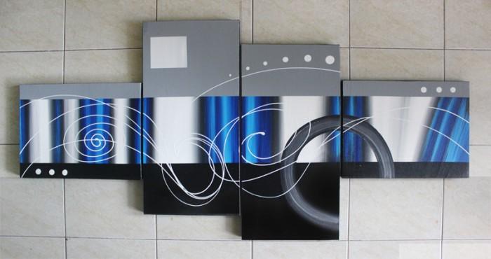 Jual Lukisan Abstrak Minimalis Nuansa Biru - Ukuran Besar ...