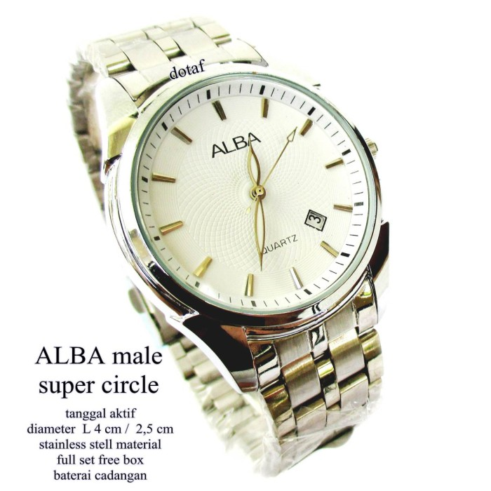 jam tangan pria allba super circle  tanggal full set putih