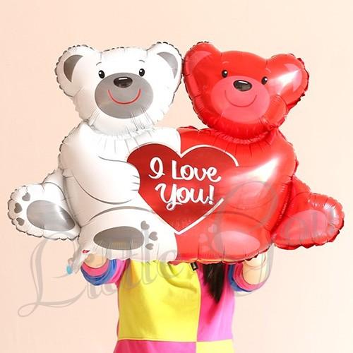 I love you couple bear balloon foil (balon beruang hati wedding)
