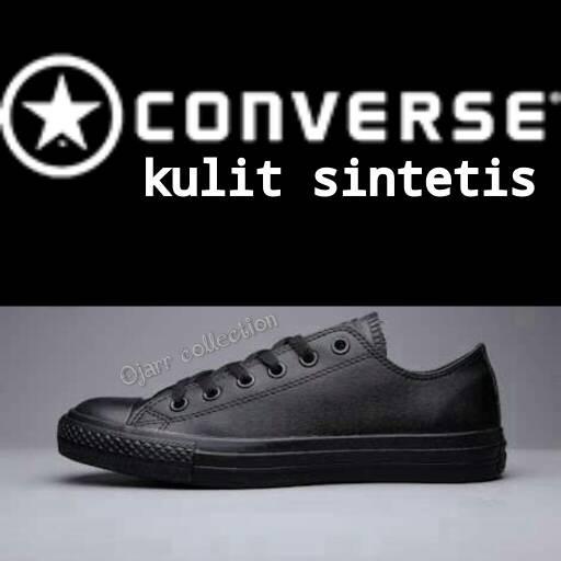 Jual Sepatu Sekolah Converse Allstar Kulit Full Hitam Grade Ori ... 84cacb9044