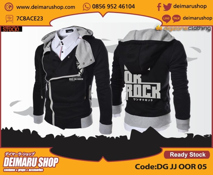 harga [dg jj oor 05] jaket band jepang one oke rock hitam j style Tokopedia.com