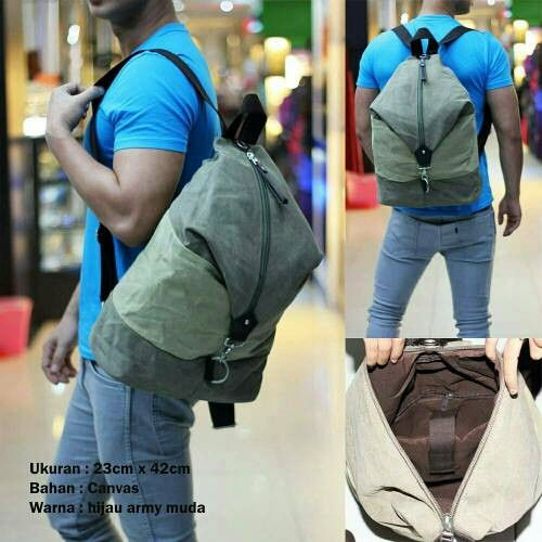 ... Ransel Canvas Toretto Army 6m. Source · Canvas Simple Coklat Tua. Source · Tas Hijau Army Muda .
