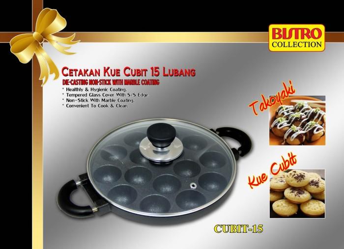 Cetakan kue cubit BISTRO teflon 15 lubang takoyaki