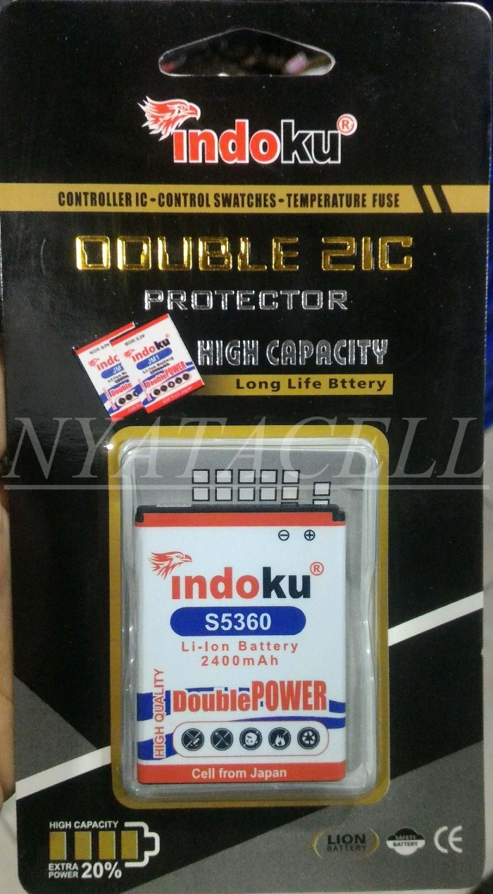 Baterai indoku samsung galaxy chat b5330 2400mah /batre/double power