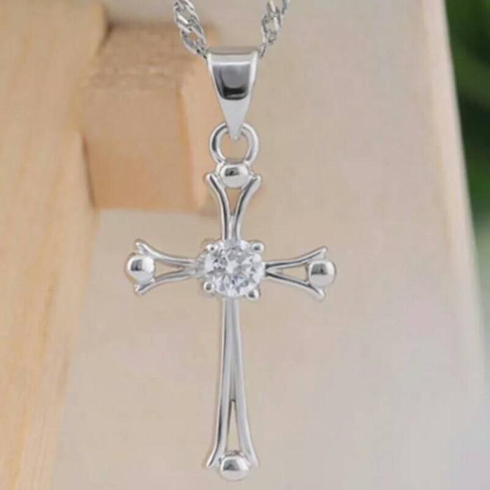 Kalung salib silver