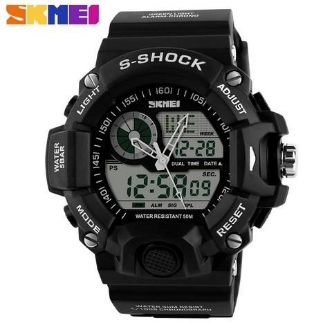 Jam tangan pria original skmei sport watch outdoor tahan air black