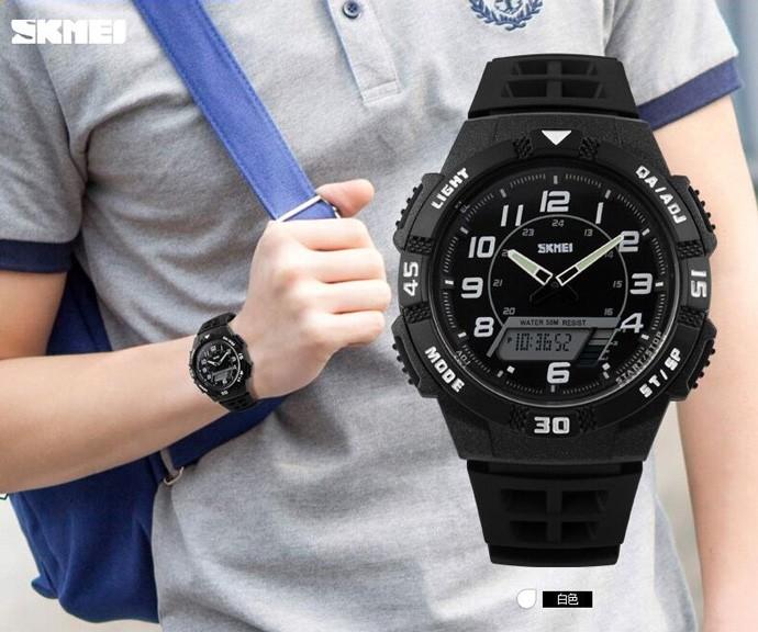 Jam tangan pria original anti air skmei sporty outdoor putih