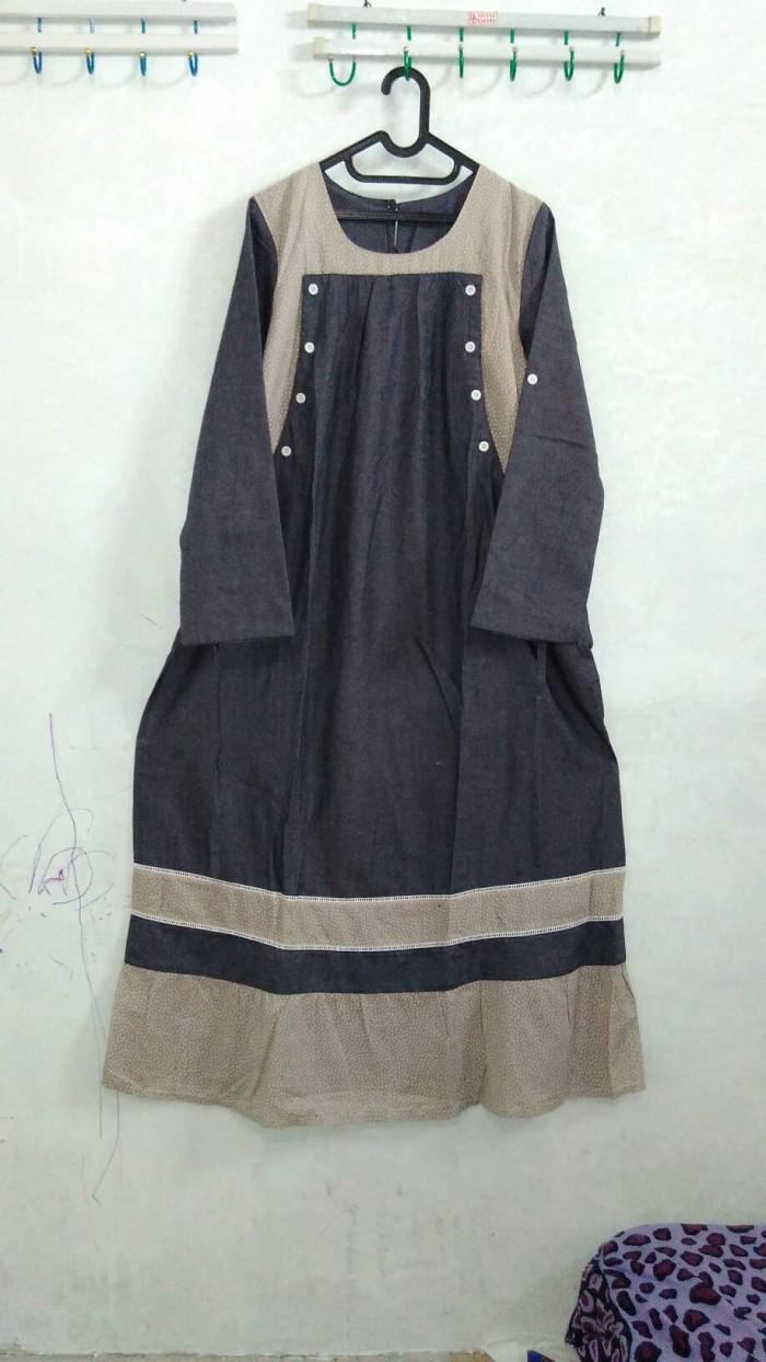 gamis hamil menyusui soft jeans kombinasi katun umbrella syari
