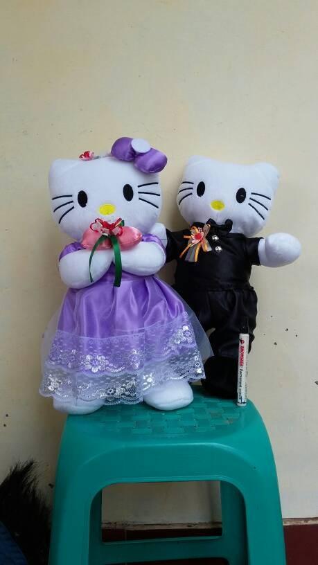 Jual Boneka Hello Kitty Couple Baju Pengantin Warna Ungu 45cm Kab