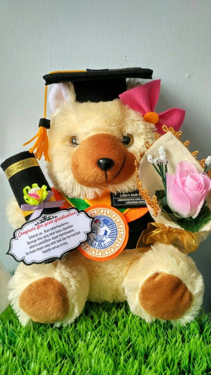 harga Boneka wisuda bear cream 30cm dengan bucket bunga Tokopedia.com