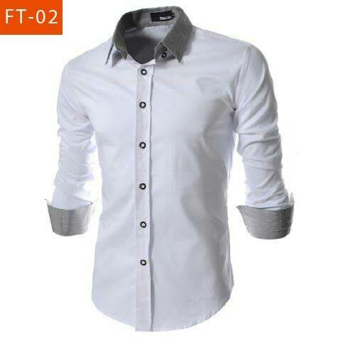 harga Baju kemeja murah havard white / hem pria lengan panjang putih slimfit Tokopedia.com