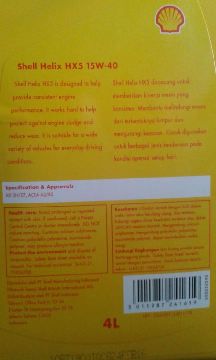 Jual Shell Helix Hx5 15w 40 4 Ltr Oli Mesin Diesel Gasoline Engine Api Sn Mobil Bensin Liter