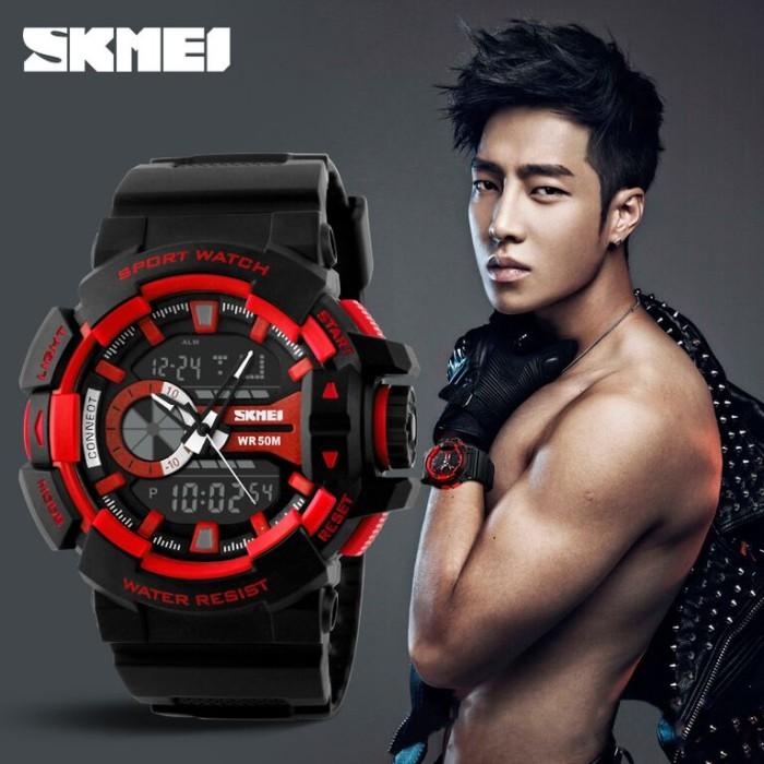 Jam tangan pria original skmei men sports led anti air red