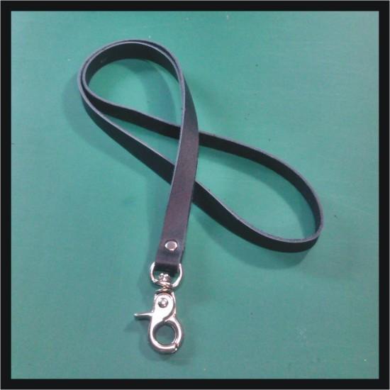 harga Tali id card kulit asli warna hitam | lanyard name tag | leather goods Tokopedia.com