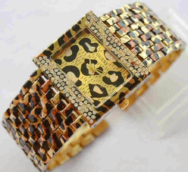 jam tangan wanita guess tikar leopard ( gucci chanel swarovski dkny )