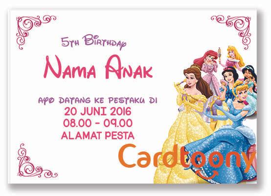 Jual Kartu Undangan Ulang Tahun Ultah Birthday Disney Princess Kota Surabaya Cardtoony Tokopedia
