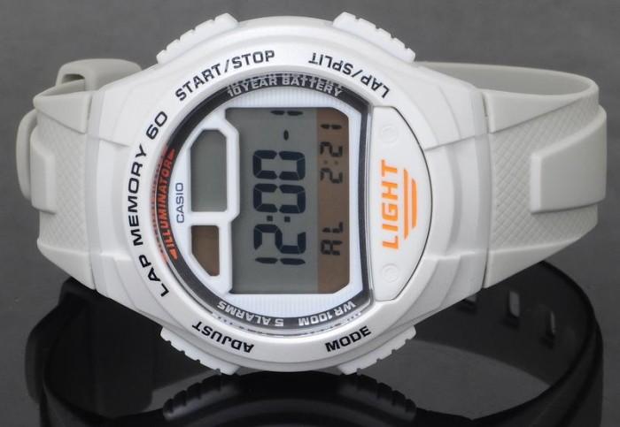 jam pria casio w734-7 putih karet digital original garansi stopwatch