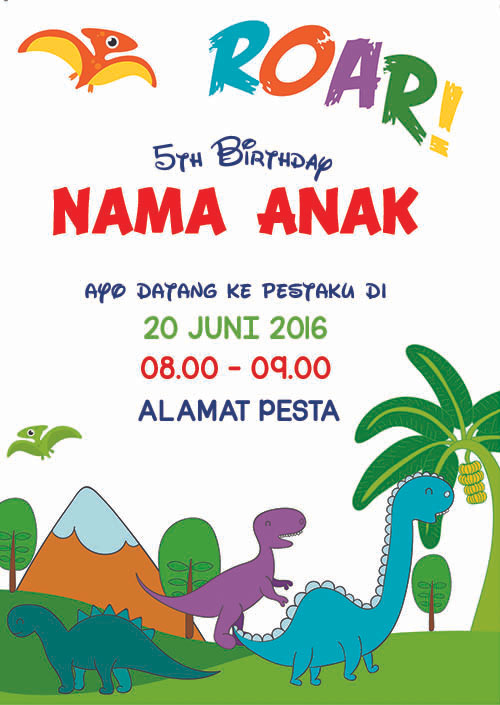 Jual Kartu Undangan Ulang Tahun Ultah Birthday Dinosaurus Dinosaur Kota Surabaya Cardtoony Tokopedia